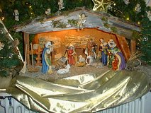 Manger with Porcelain  Nativity figurines in Ramstein, Germany